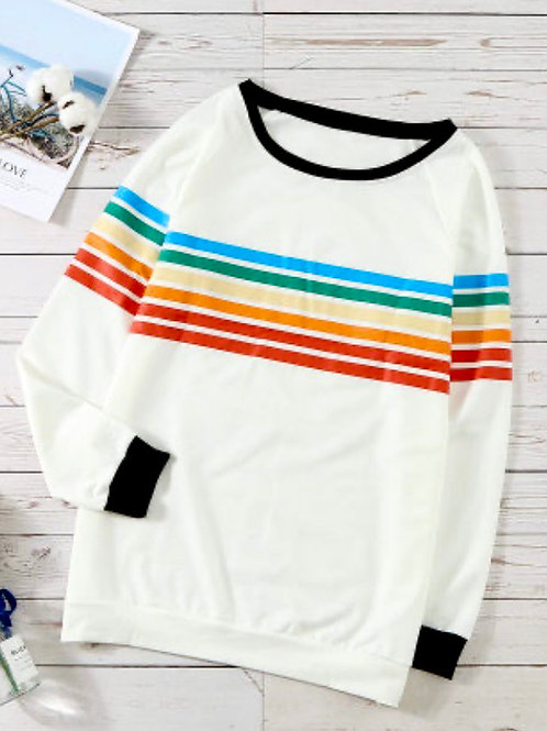 Rainbow Print White Long Sleeve Top