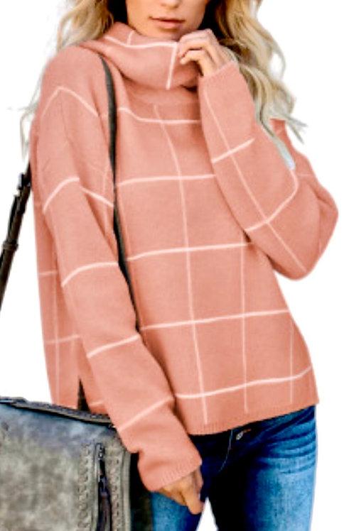 Apricot Grid Pattern Turtleneck Sweater