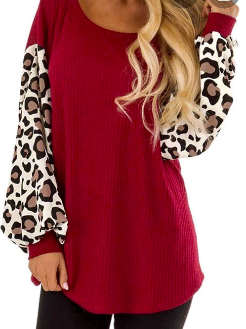 Knitted Red Leopard Balloon Sleeve Top