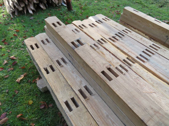 Chestnut Post With Mortices For Rails