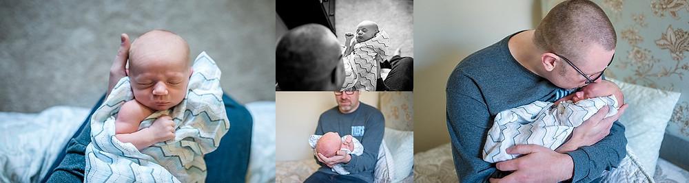 dad with baby Roanoke newborn