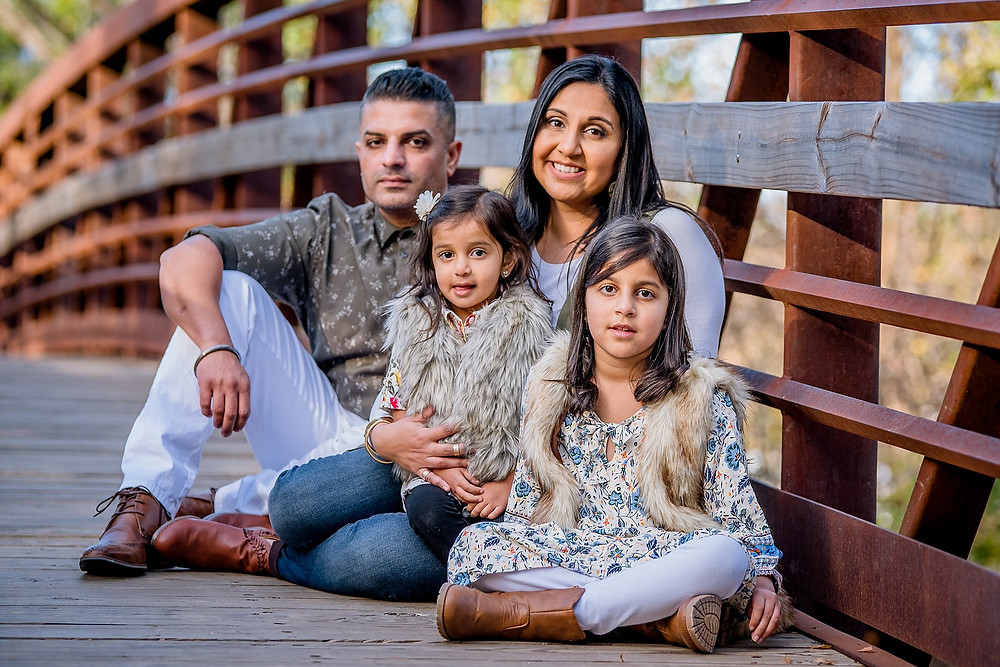 family on bridge, Keller Pointe