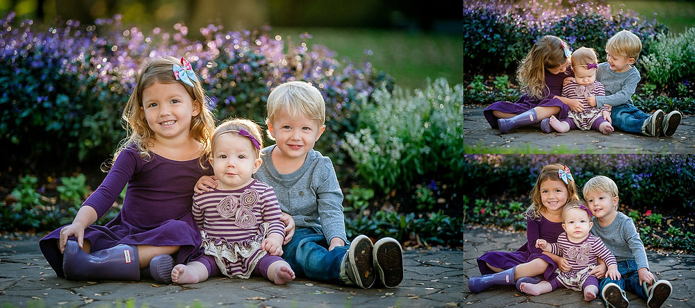 siblings, sitter session, Grapevine Botanical Gardens