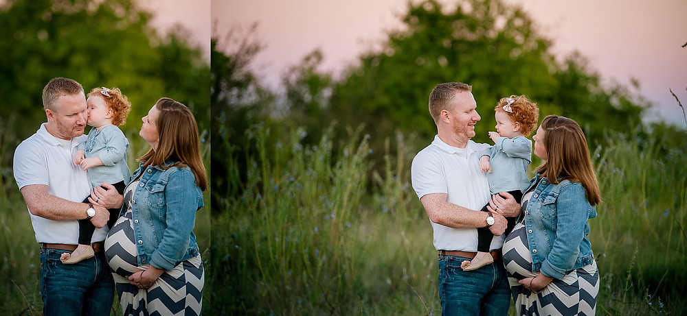 family and toddler, family maternity, Fort Worth maternity, Fort Worth photographer, Northwest Park, red headed family, family maternity