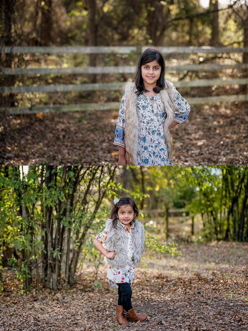 little girls posing, furry jacket, Bear Creek Keller