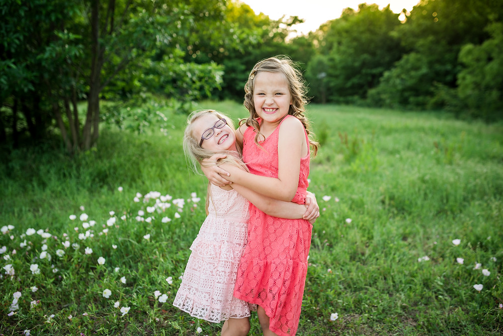 sisters, siblings, Fort Worth family photography, Trophy Club photographer