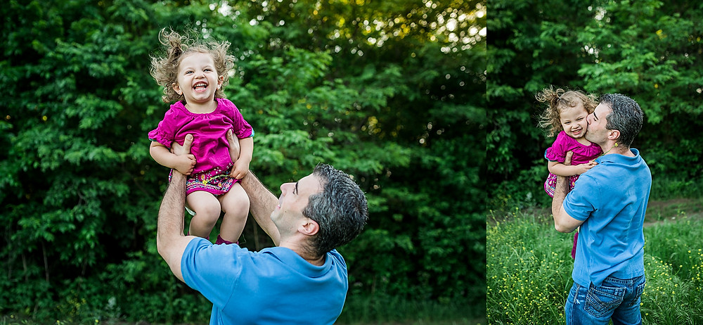 Spring family mini session, Keller photographer, dad and daughter