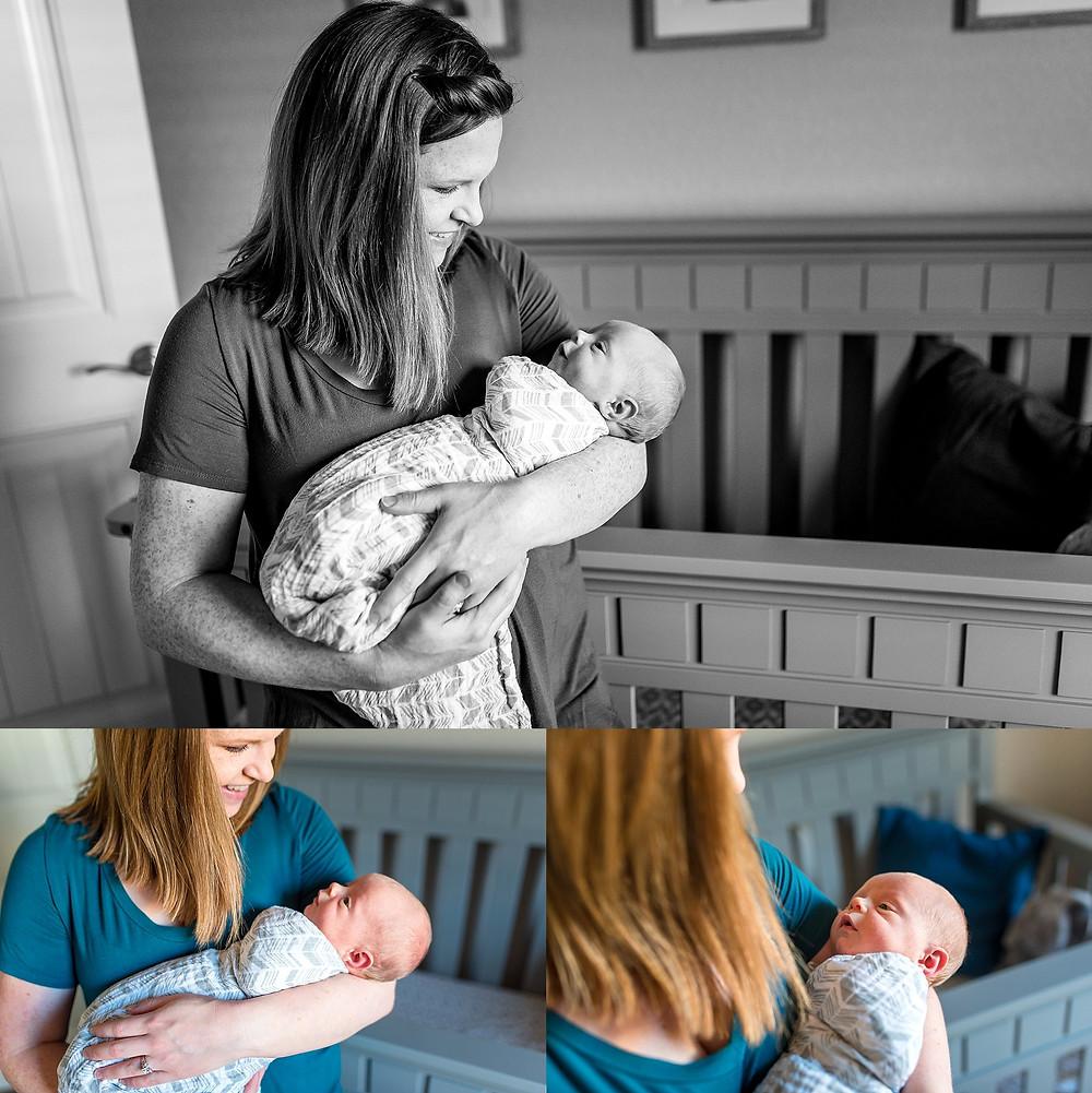 baby boy smiling at mom,