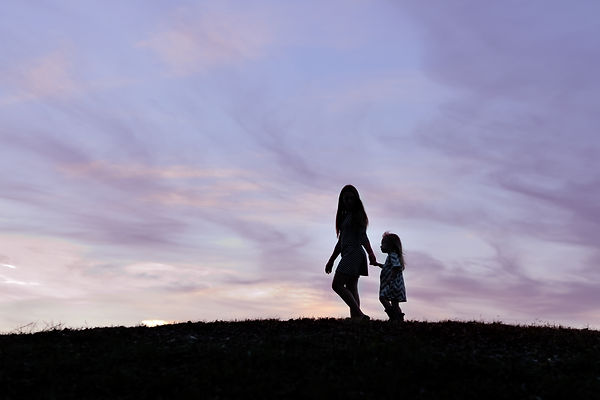 Silhouette sisters walking, Trophy Club photography