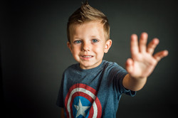 little boy in captain America shirt