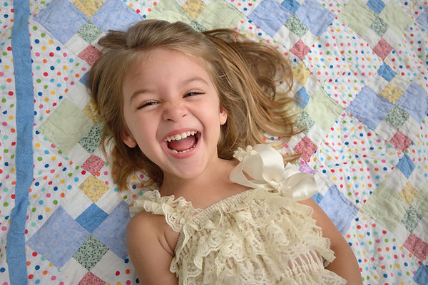 laughing girl on blanket, Southlake photography