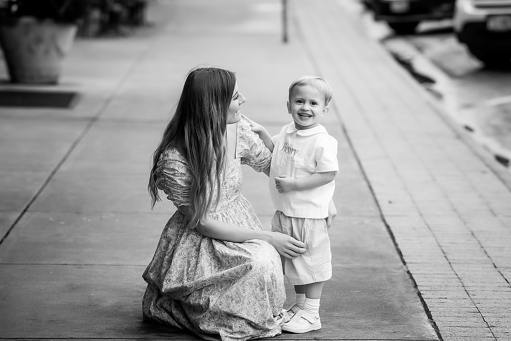 Mom and son Denton Square