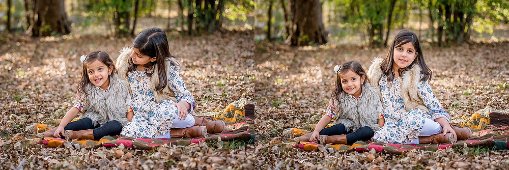 sisters on a blanket, fall photo