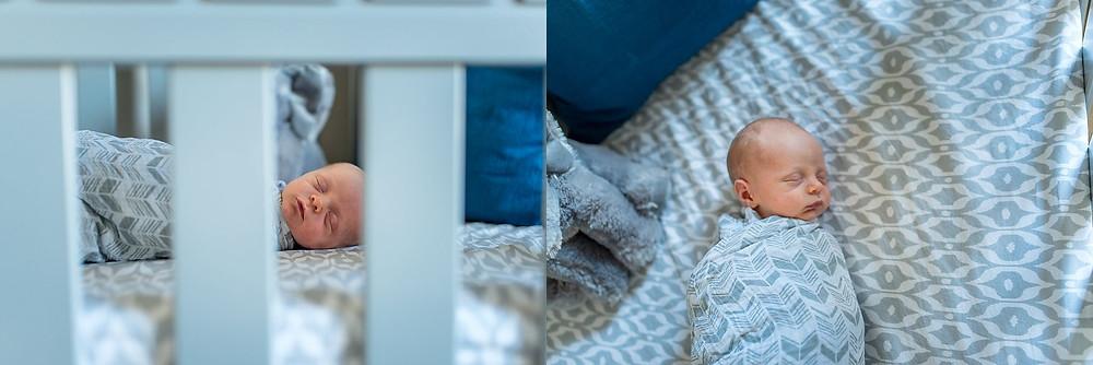 baby boy in crib, grey crib