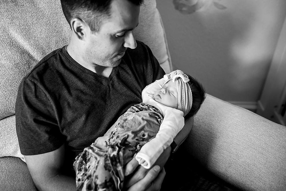 Southlake lifestyle newborn photographer dad daughter