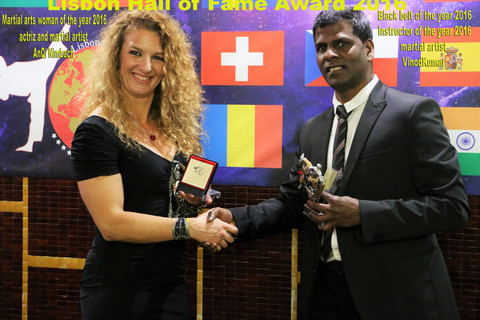 World Martial arts Hall of Fame Award in Lisbon 2016 Black Belt of the year 2016 & Instructor of