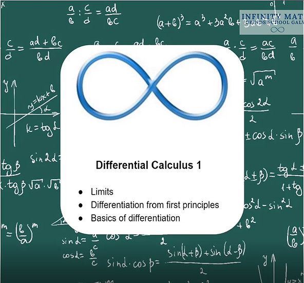 Differential Calculus 1 Lesson 1 FREE TO VIEW ON HOME PAGE