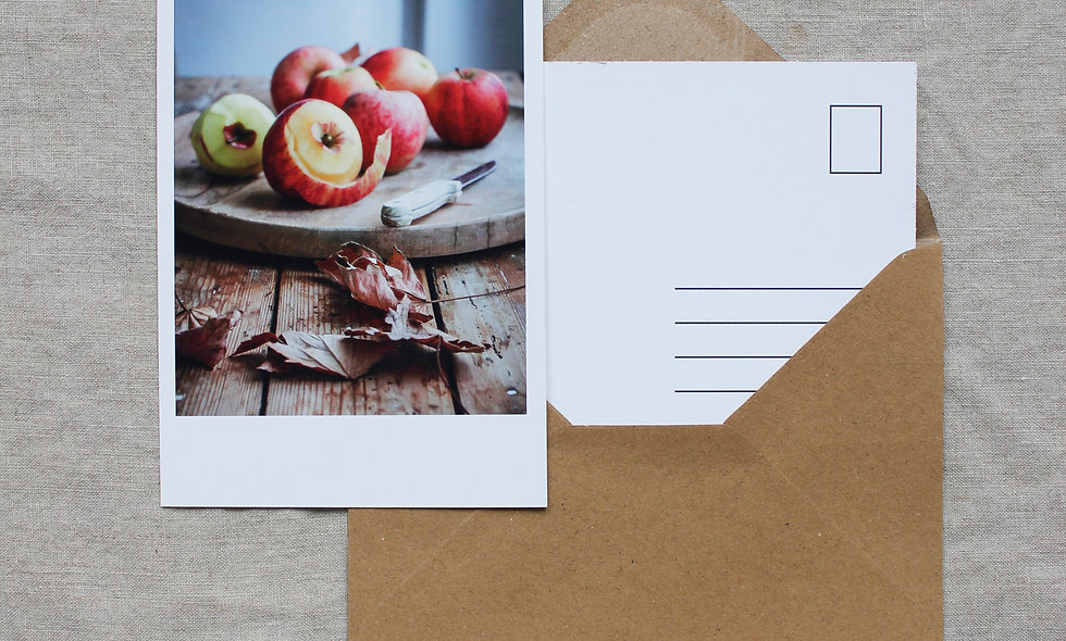 Postkarte Herbst-Winter imraum Impressionen Äpfel