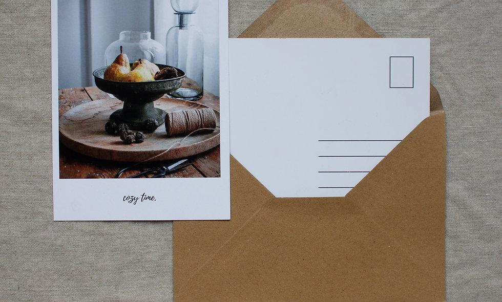 Postkarte Herbst-Winter imraum Impressionen Birnen