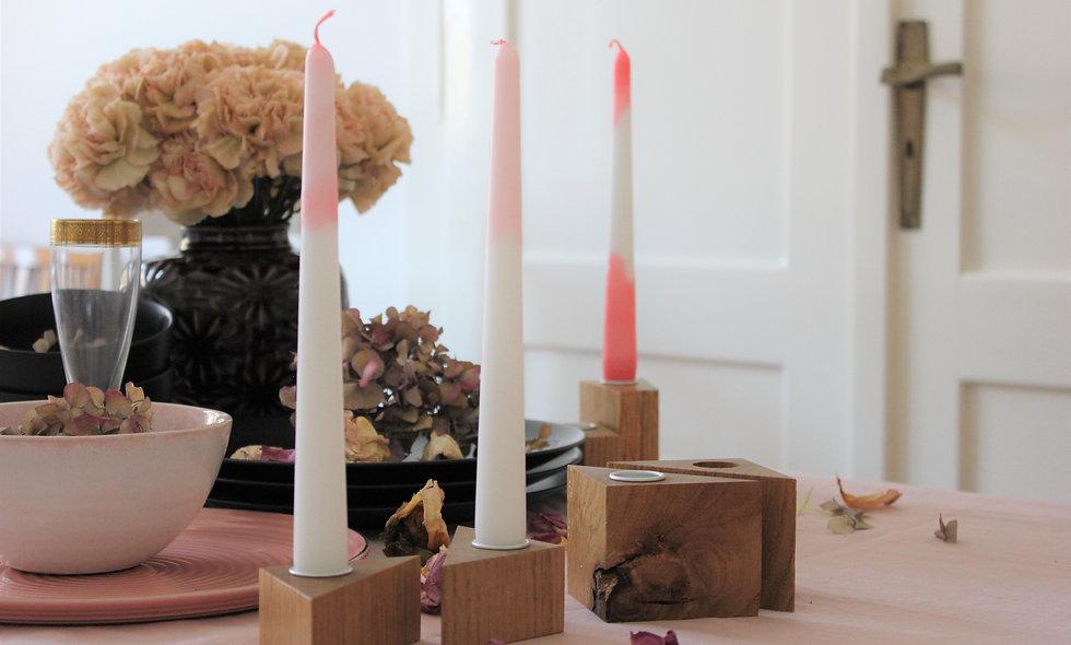 KERZENHALTER dreieckig, im Set mit zwei handmade Ombrekerzen, rose