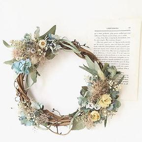 ・_【紫陽花とスモークツリーのリース】_・_夏のお花、紫陽花とふわふわのスモーク