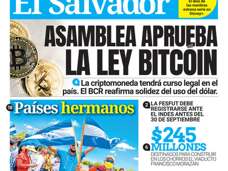 El Salvador Becomes First Country to Make Bitcoin a Legal Tender!