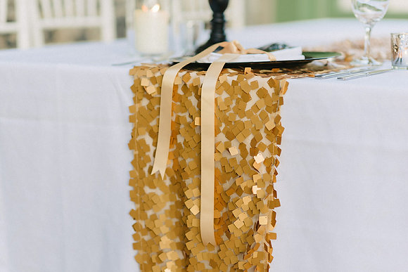 GOLD CHIP SEQUIN TABLE RUNNER