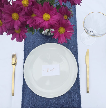 MATTE NAVY SEQUIN TABLE RUNNER