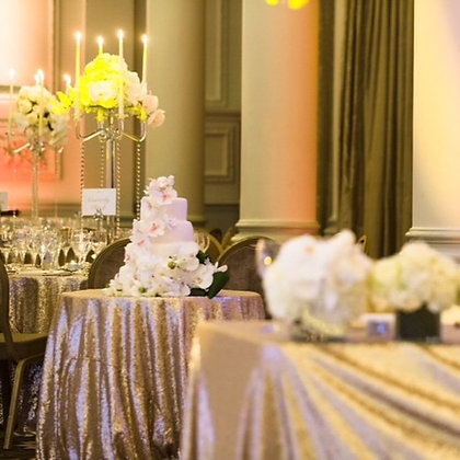 CHAMPAGNE BLUSH SEQUIN TABLECLOTH