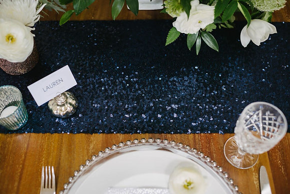 NAVY SEQUIN TABLE RUNNER