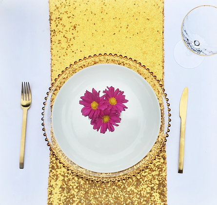 BRIGHT GOLD SEQUIN TABLE RUNNER