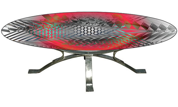 Table basse Rouge fraise Jean Hubert Niffac