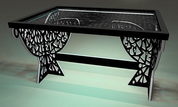 Table tableau Hastens - 6 pans droit Pap