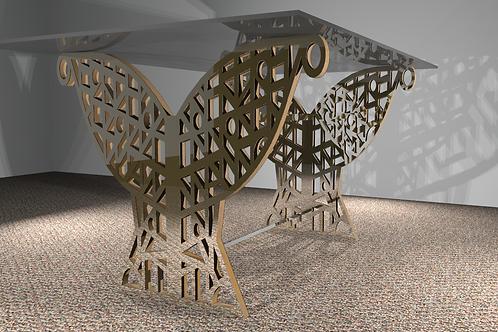 Table rectangulaire 2 pieds droits : Art Déco