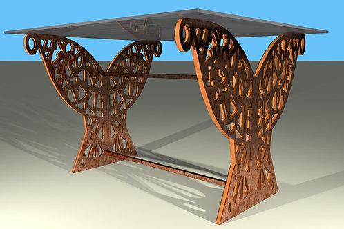Pied de table rectangle droit Papillon : 2 panneaux