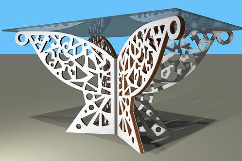 Table rectangulaire 4 pieds obliques : Papillon