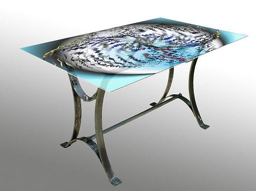 Table rectangulaire : Modèle Globe bleu