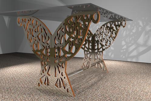 Table rectangulaire 2 pieds droits : Papillon