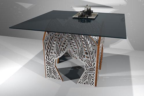 Table carrée 4 pieds droits - Modèle Jungle