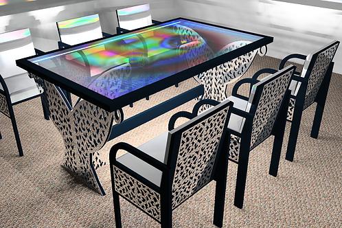 """Table tableau : """"Au delà 4"""" bleu-pétrol - Modèle Cubique avec 6 sièges"""