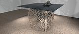 Table carree Art Deco bois et metal chro