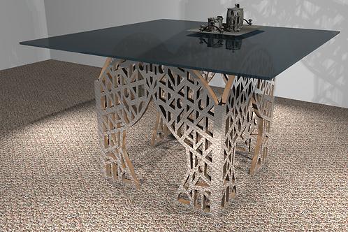 Table carrée 4 pieds droits - Modèle Art Déco