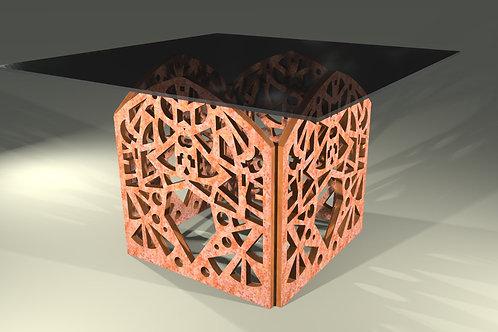 Table carrée 4 pieds droits : Modèle Papillon