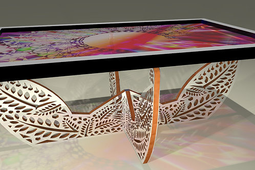 Table basse tableau - Painting coffee table  : Soleil aztèque 1