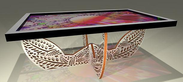 Table basse tableau Soleil azteque