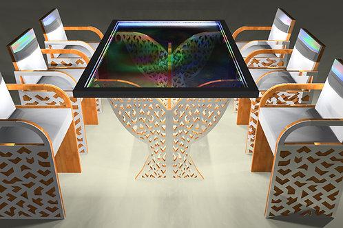 """Table tableau : """"Au delà 4"""" Modèle Cubique avec 6 sièges"""