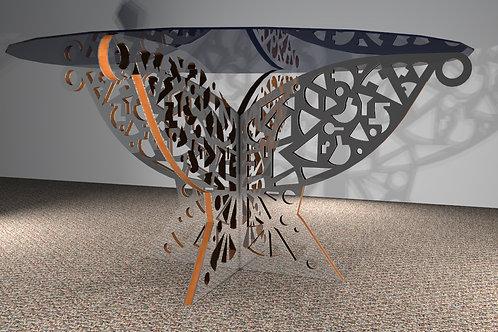 Table ronde 4 pans : Papillon