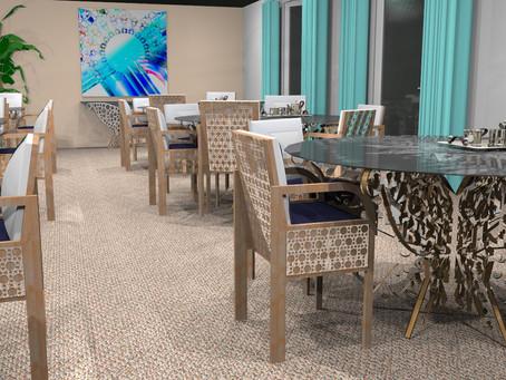 Table à six pans Papillon pour un support verre coloré de 1,60 m de diamètre. Ambiance restaurant.