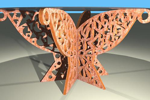Pied de table ronde : Papillon 6 pans