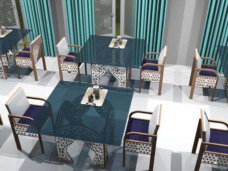 Les tables donnent un style au restaurant